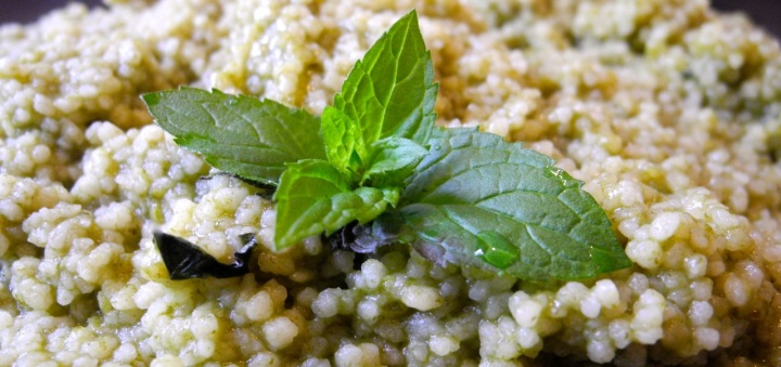 cous cous all'infuso di menta e spinaci